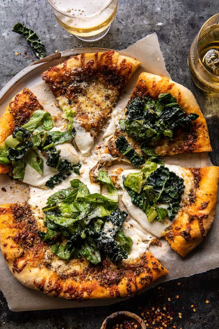 Pizza à la salade César Burrata |  halfbakedharvest.com