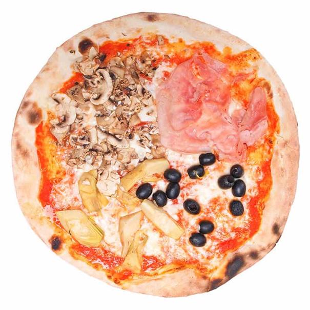 La Pizza Quattro Stagioni représente chaque saison d'une manière différente