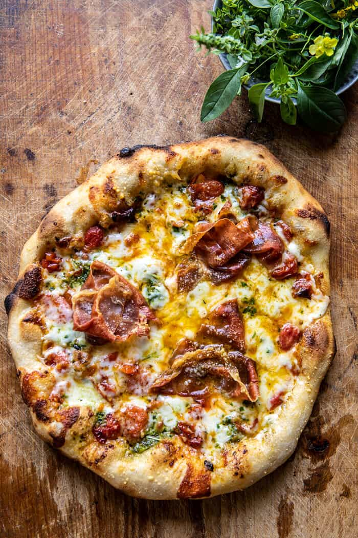Pizza Tomate Fromage Roquette |  halfbakedharvest.com